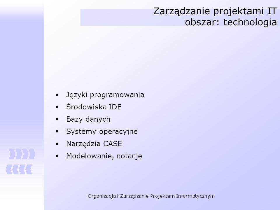 Organizacja i Zarządzanie Projektem Informatycznym Zarządzanie projektami IT obszar: technologia Języki programowania Środowiska IDE Bazy danych Syste