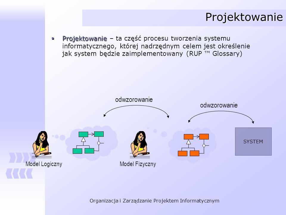 Organizacja i Zarządzanie Projektem Informatycznym Projektowanie Projektowanie Projektowanie – ta część procesu tworzenia systemu informatycznego, któ