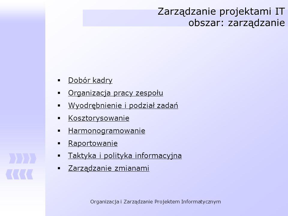 Organizacja i Zarządzanie Projektem Informatycznym Zarządzanie projektami IT obszar: zarządzanie Dobór kadry Organizacja pracy zespołu Wyodrębnienie i