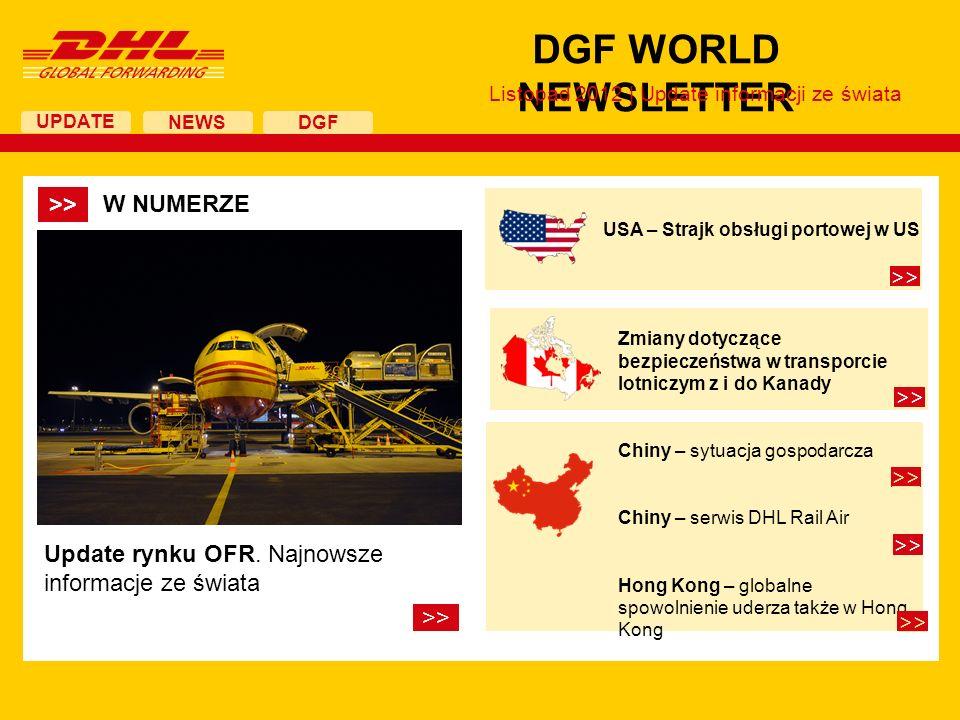 UPDATE DGF WORLD NEWSLETTER Listopad 2012 | Update informacji ze świata NEWS DGF Update rynku OFR. Najnowsze informacje ze świata >> USA – Strajk obsł