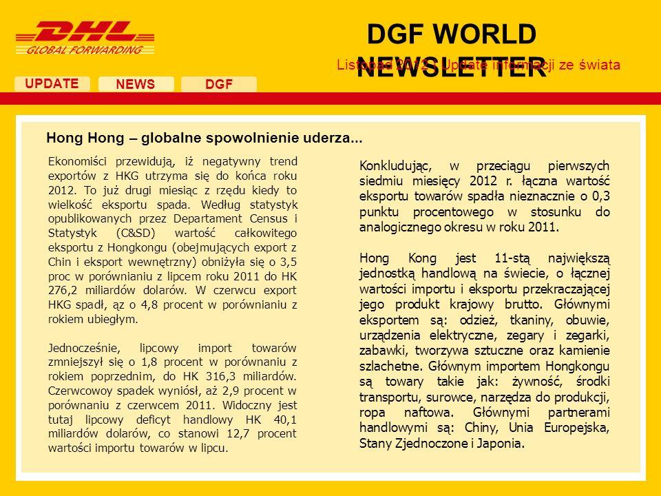UPDATE DGF WORLD NEWSLETTER NEWS DGF Listopad 2012 | Update informacji ze świata Hong Hong – globalne spowolnienie uderza... Konkludując, w przeciągu