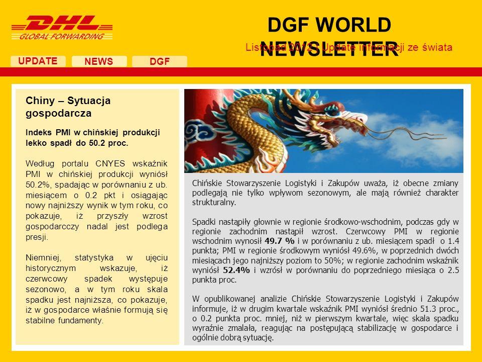 UPDATE DGF WORLD NEWSLETTER NEWS DGF Chiny – Sytuacja gospodarcza Indeks PMI w chińskiej produkcji lekko spadł do 50.2 proc. Według portalu CNYES wska