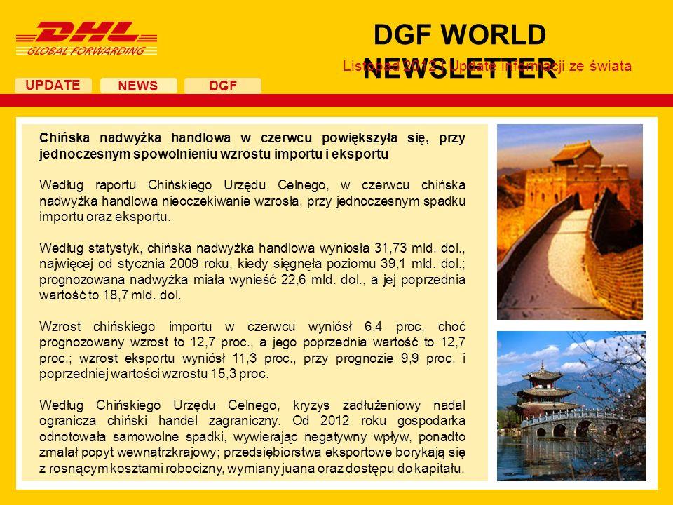 UPDATE DGF WORLD NEWSLETTER NEWS DGF Listopad 2012 | Update informacji ze świata Chińska nadwyżka handlowa w czerwcu powiększyła się, przy jednoczesny