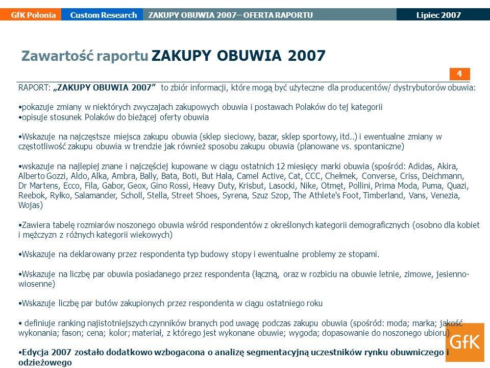 Lipiec 2007 GfK PoloniaCustom ResearchZAKUPY OBUWIA 2007– OFERTA RAPORTU RAPORT: ZAKUPY OBUWIA 2007 to zbiór informacji, które mogą być użyteczne dla