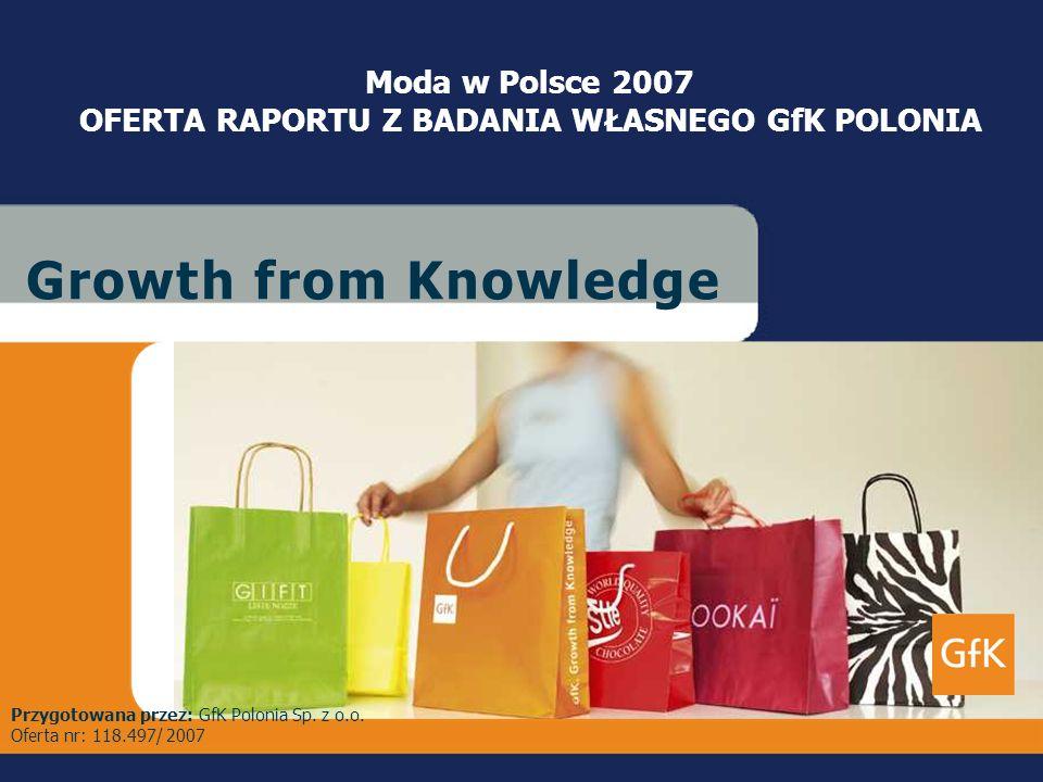 Lipiec 2007 GfK PoloniaCustom ResearchMODA W POLSCE 2007– OFERTA RAPORTU G r o w t h f r o m K n o w l e d g eG r o w t h f r o m K n o w l e d g e Mo