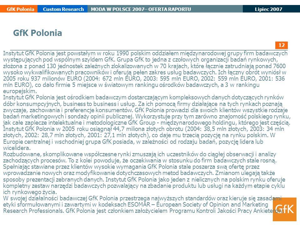 Lipiec 2007 GfK PoloniaCustom ResearchMODA W POLSCE 2007– OFERTA RAPORTU GfK Polonia Instytut GfK Polonia jest powstałym w roku 1990 polskim oddziałem
