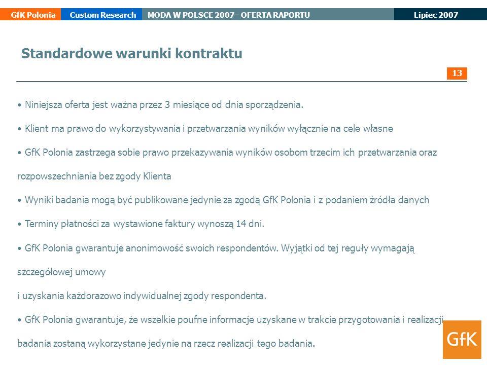 Lipiec 2007 GfK PoloniaCustom ResearchMODA W POLSCE 2007– OFERTA RAPORTU Standardowe warunki kontraktu Niniejsza oferta jest ważna przez 3 miesiące od