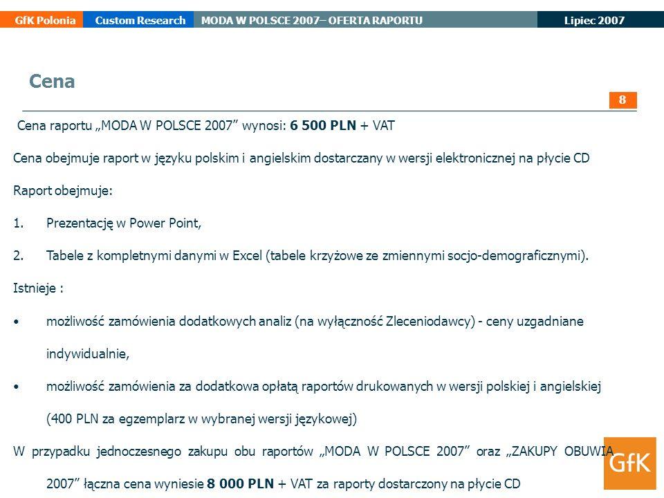 Lipiec 2007 GfK PoloniaCustom ResearchMODA W POLSCE 2007– OFERTA RAPORTU Cena raportu MODA W POLSCE 2007 wynosi: 6 500 PLN + VAT Cena obejmuje raport