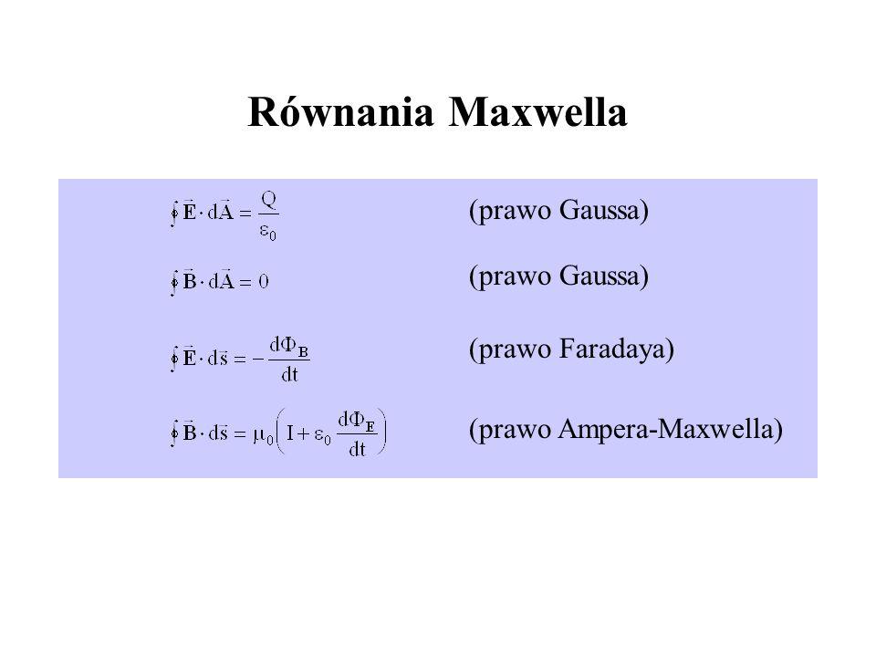 Równania Maxwella (prawo Gaussa) (prawo Faradaya) (prawo Ampera-Maxwella)