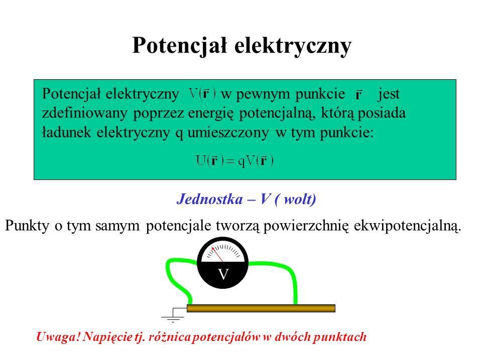 Potencjał elektryczny Jednostka – V ( wolt) Potencjał elektryczny w pewnym punkcie jest zdefiniowany poprzez energię potencjalną, którą posiada ładune
