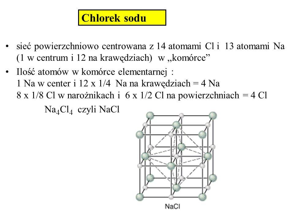 Chlorek cezu Każdy atom Cl otoczony jest 8 atomami Cs Każdy atom Cs otoczony jest 8 atomami Cl