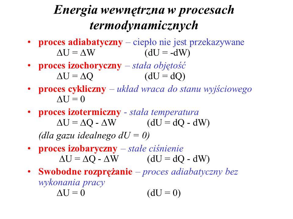 I zasada termodynamiki Dla każdego procesu termodynamicznego, różnica miedzy ciepłem dostarczonym do układu a pracą wykonaną przez układ zależy tylko