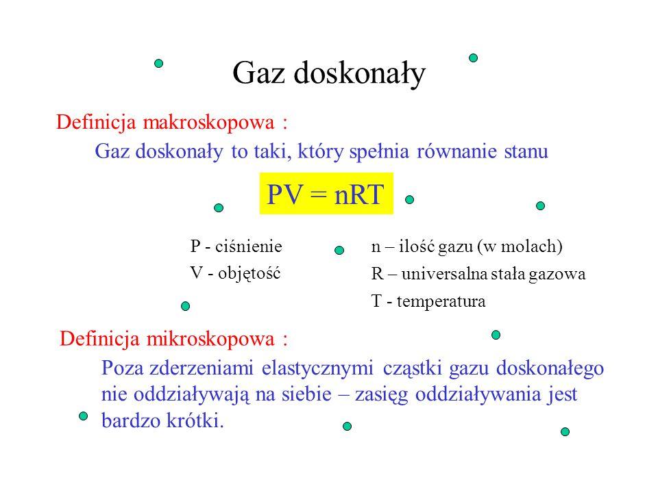 Energia wewnętrzna w procesach termodynamicznych proces adiabatyczny – ciepło nie jest przekazywane U = W (dU = -dW) proces izochoryczny – stała objęt