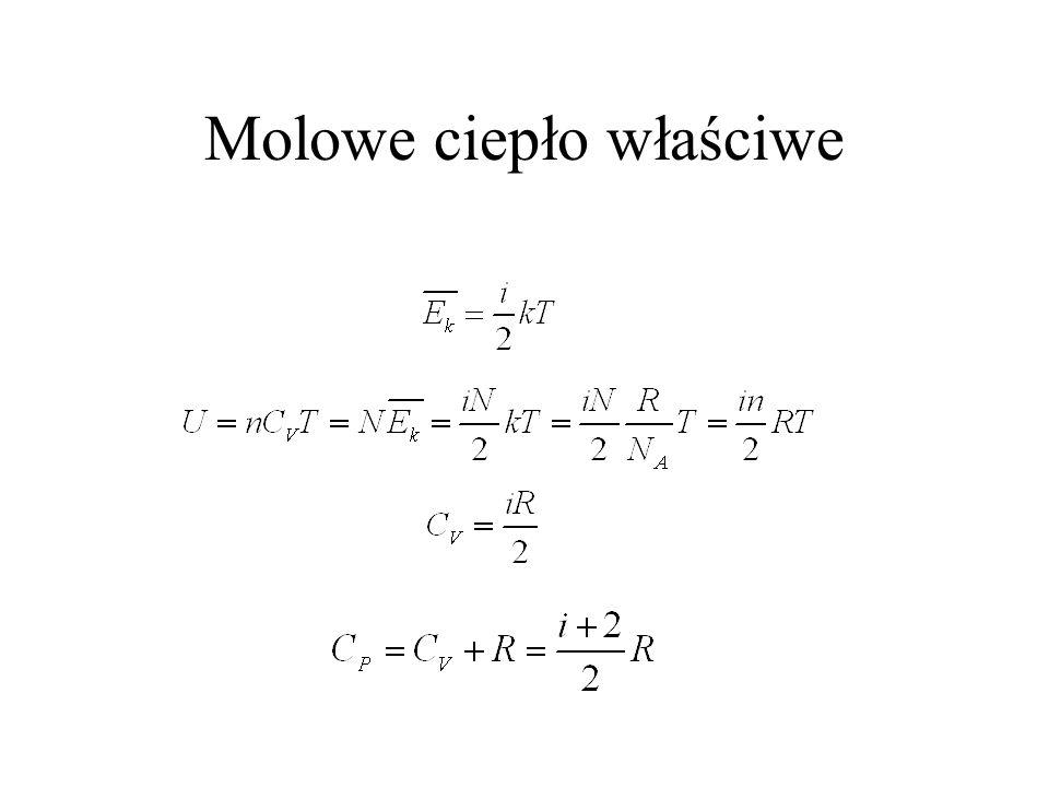 Stała gazowa (molowe ciepło właściwe gazu doskonałego) PV = nRT PdV = nRdT nC V dT = dU = dQ - dW Dla procesu izobarycznego: = nC P dT -nRdT Ciepło wł