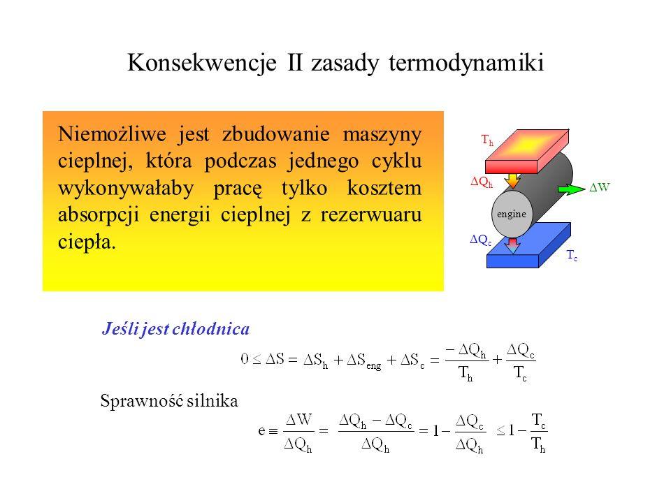 II zasada termodynamiki Dla każdego procesu termodynamicznego w którym następuje przejście od jednego stanu równowagowego do drugiego, całkowita entro