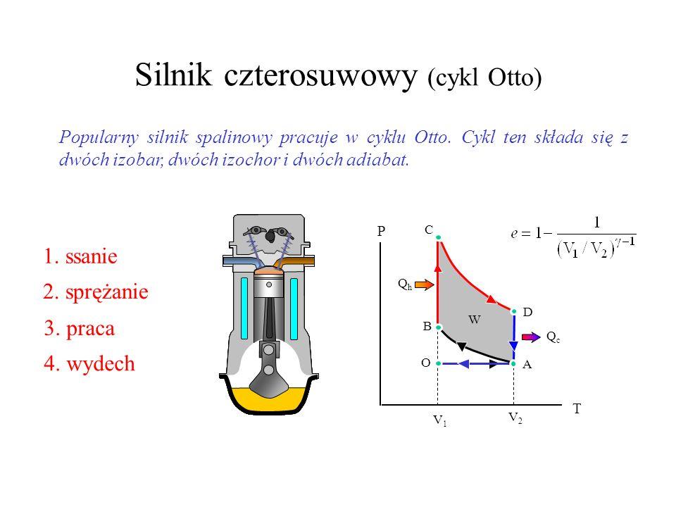 Cykl Carnota ThTh QhQh Izotermiczne rozprężanie Adiabatyczne rozprężanie Sprężanie izotermiczne QhQh ThTh B QcQc TcTc C V P A D TcTc QcQc adiabatyczne