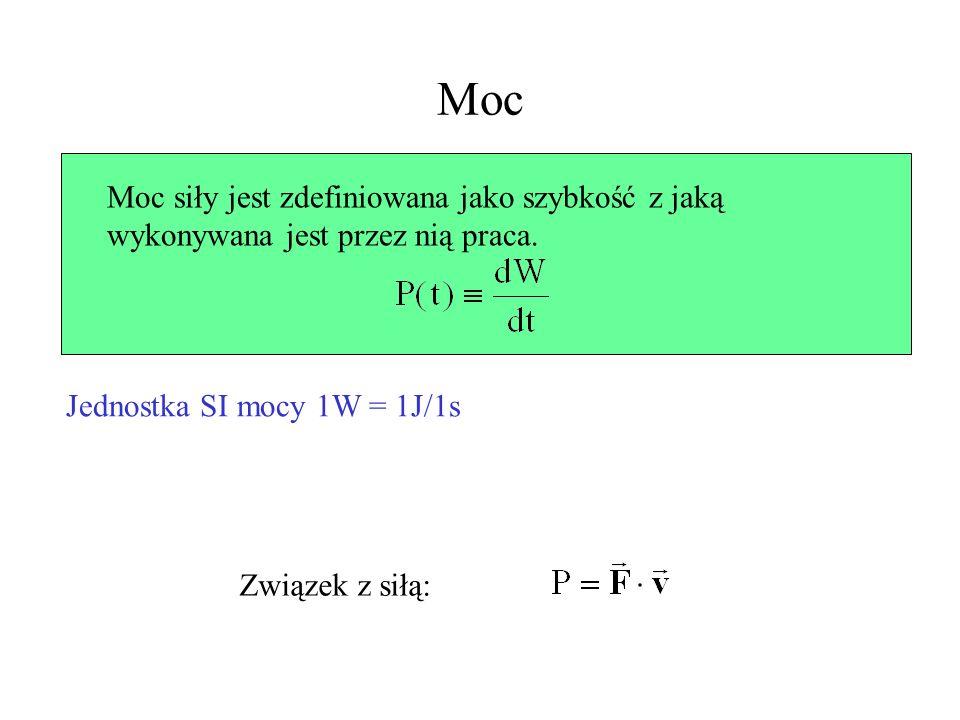 Moc Moc siły jest zdefiniowana jako szybkość z jaką wykonywana jest przez nią praca. Jednostka SI mocy 1W = 1J/1s Związek z siłą: