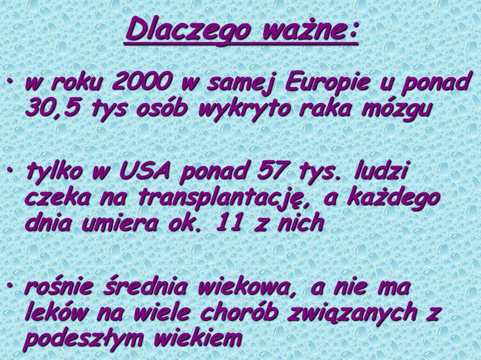 Dlaczego ważne: w roku 2000 w samej Europie u ponad 30,5 tys osób wykryto raka mózguw roku 2000 w samej Europie u ponad 30,5 tys osób wykryto raka móz