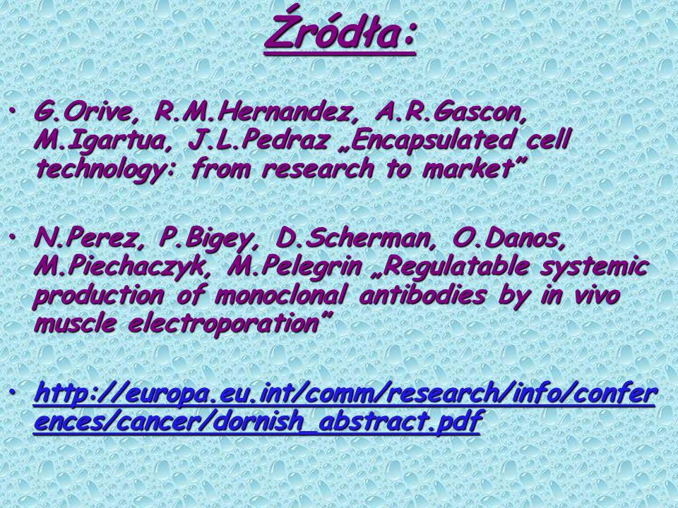 Źródła: G.Orive, R.M.Hernandez, A.R.Gascon, M.Igartua, J.L.Pedraz Encapsulated cell technology: from research to marketG.Orive, R.M.Hernandez, A.R.Gas
