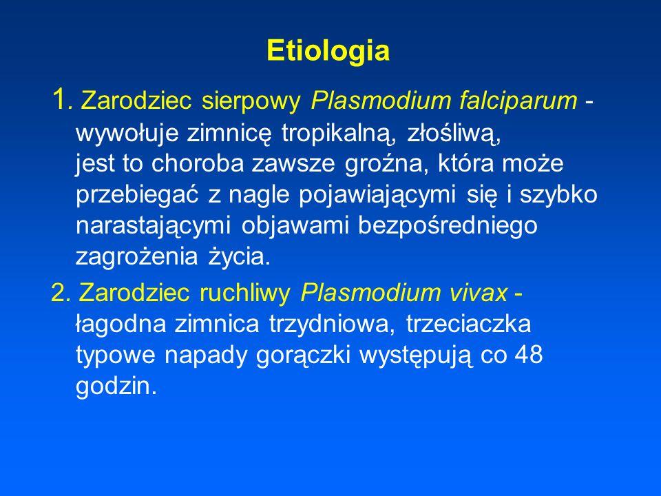 Etiologia 1. Zarodziec sierpowy Plasmodium falciparum - wywołuje zimnicę tropikalną, złośliwą, jest to choroba zawsze groźna, która może przebiegać z