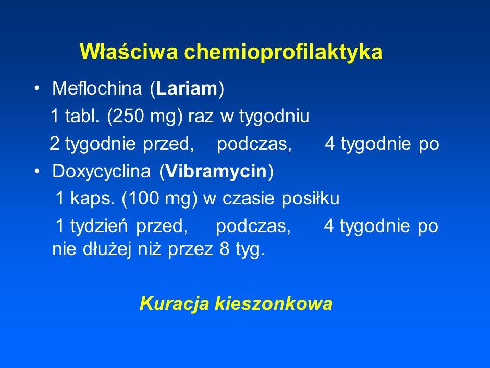 Właściwa chemioprofilaktyka Meflochina (Lariam) 1 tabl. (250 mg) raz w tygodniu 2 tygodnie przed, podczas, 4 tygodnie po Doxycyclina (Vibramycin) 1 ka