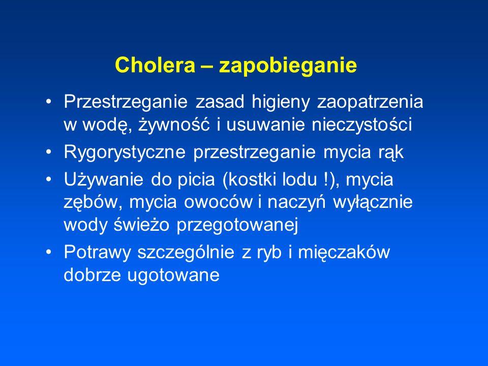 Cholera – zapobieganie Przestrzeganie zasad higieny zaopatrzenia w wodę, żywność i usuwanie nieczystości Rygorystyczne przestrzeganie mycia rąk Używan