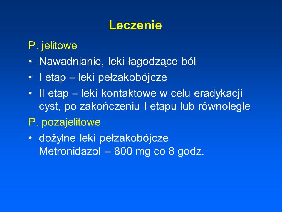 Leczenie P. jelitowe Nawadnianie, leki łagodzące ból I etap – leki pełzakobójcze II etap – leki kontaktowe w celu eradykacji cyst, po zakończeniu I et