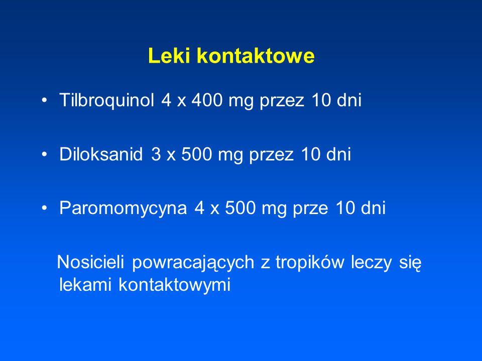 Leki kontaktowe Tilbroquinol 4 x 400 mg przez 10 dni Diloksanid 3 x 500 mg przez 10 dni Paromomycyna 4 x 500 mg prze 10 dni Nosicieli powracających z