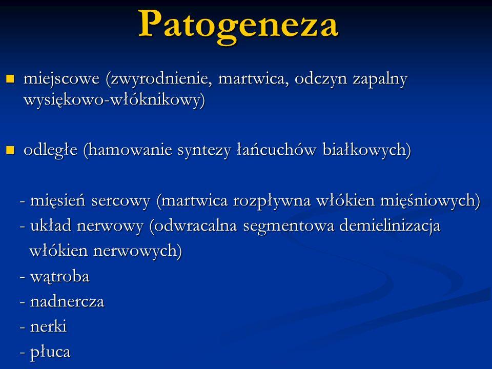 Patogeneza miejscowe (zwyrodnienie, martwica, odczyn zapalny wysiękowo-włóknikowy) miejscowe (zwyrodnienie, martwica, odczyn zapalny wysiękowo-włóknik
