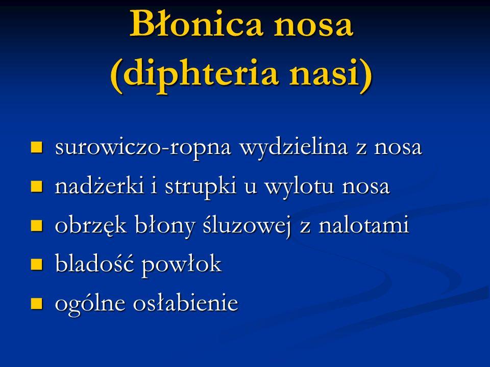 Błonica nosa (diphteria nasi) surowiczo-ropna wydzielina z nosa surowiczo-ropna wydzielina z nosa nadżerki i strupki u wylotu nosa nadżerki i strupki