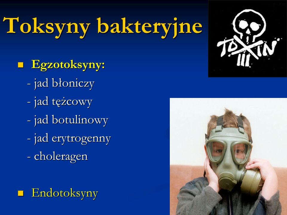 Toksyny bakteryjne Egzotoksyny: Egzotoksyny: - jad błoniczy - jad błoniczy - jad tężcowy - jad tężcowy - jad botulinowy - jad botulinowy - jad erytrog