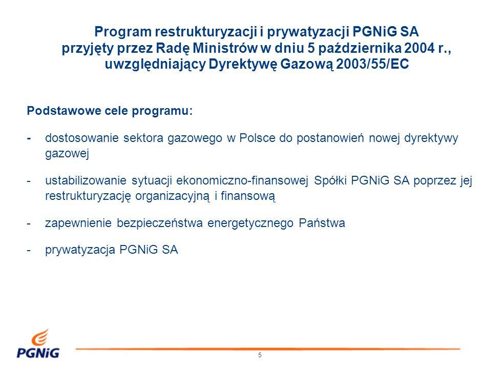 16 Wydzielenie ze struktur PGNiG SA działalności poszukiwawczo-wydobywczej nastąpi w terminie do końca 2006 r., po wprowadzeniu akcji PGNiG SA do obrotu publicznego i przeprowadzeniu restrukturyzacji finansowej, dotyczącej w szczególności zobowiązań długoterminowych.