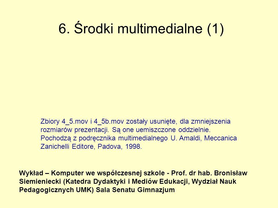 6.Środki multimedialne (1) Wykład – Komputer we współczesnej szkole - Prof.