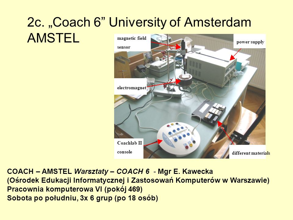 2c. Coach 6 University of Amsterdam AMSTEL different materials Coachlab II console power supply electromagnet magnetic field sensor COACH – AMSTEL War