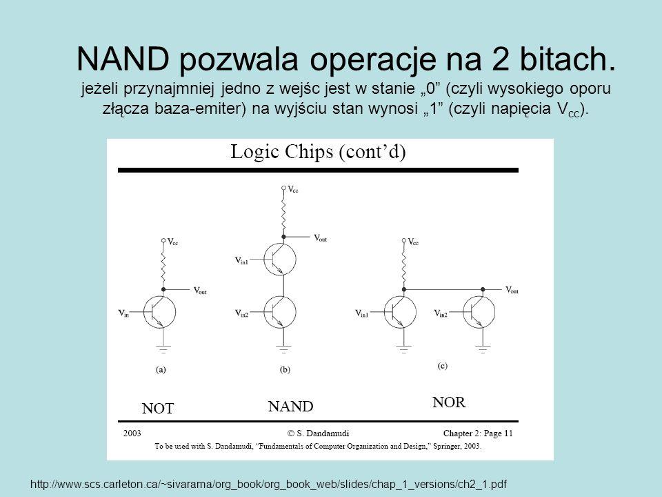 NAND pozwala operacje na 2 bitach. jeżeli przynajmniej jedno z wejśc jest w stanie 0 (czyli wysokiego oporu złącza baza-emiter) na wyjściu stan wynosi