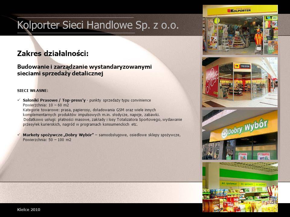 Kolporter Sieci Handlowe Sp. z o.o. Kielce 2010 SIECI WŁASNE: Saloniki Prasowe / Top-pressy - punkty sprzedaży typu convinience Powierzchnia: 10 – 60