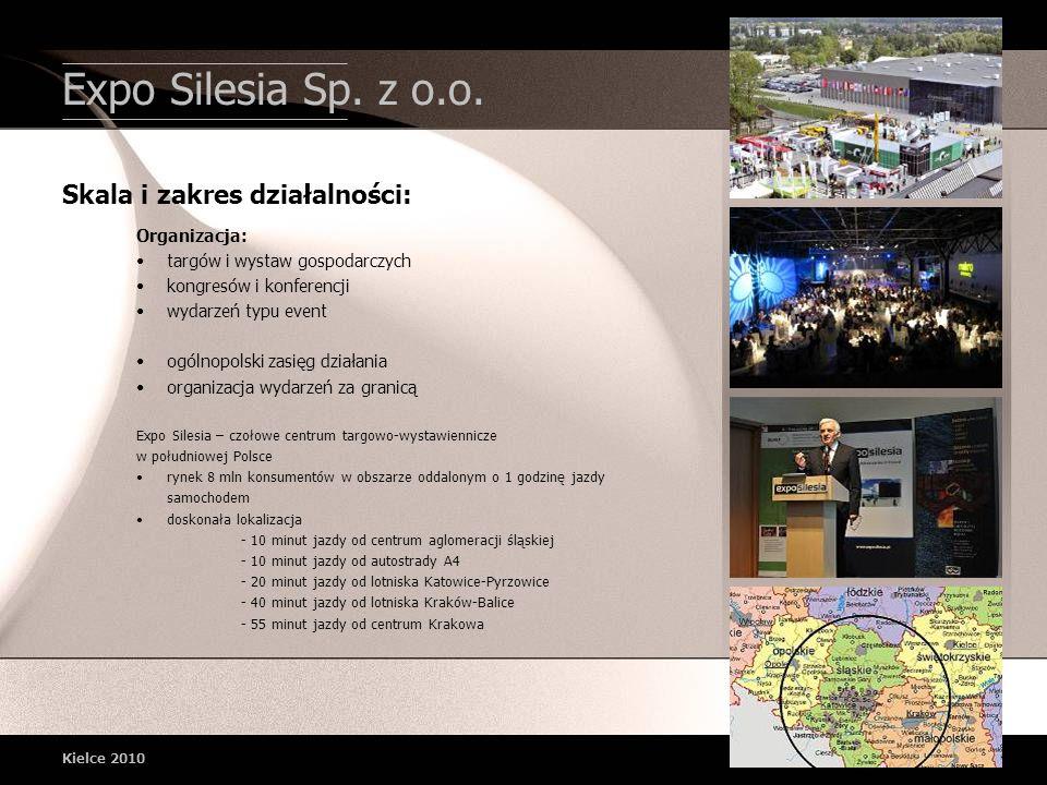 Expo Silesia Sp. z o.o. Kielce 2010 Organizacja: targów i wystaw gospodarczych kongresów i konferencji wydarzeń typu event ogólnopolski zasięg działan