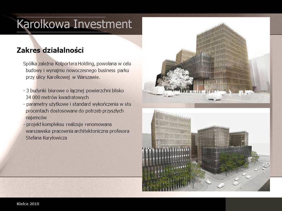 Kielce 2010 Zakres działalności Karolkowa Investment Spółka zależna Kolportera Holding, powołana w celu budowy i wynajmu nowoczesnego business parku p