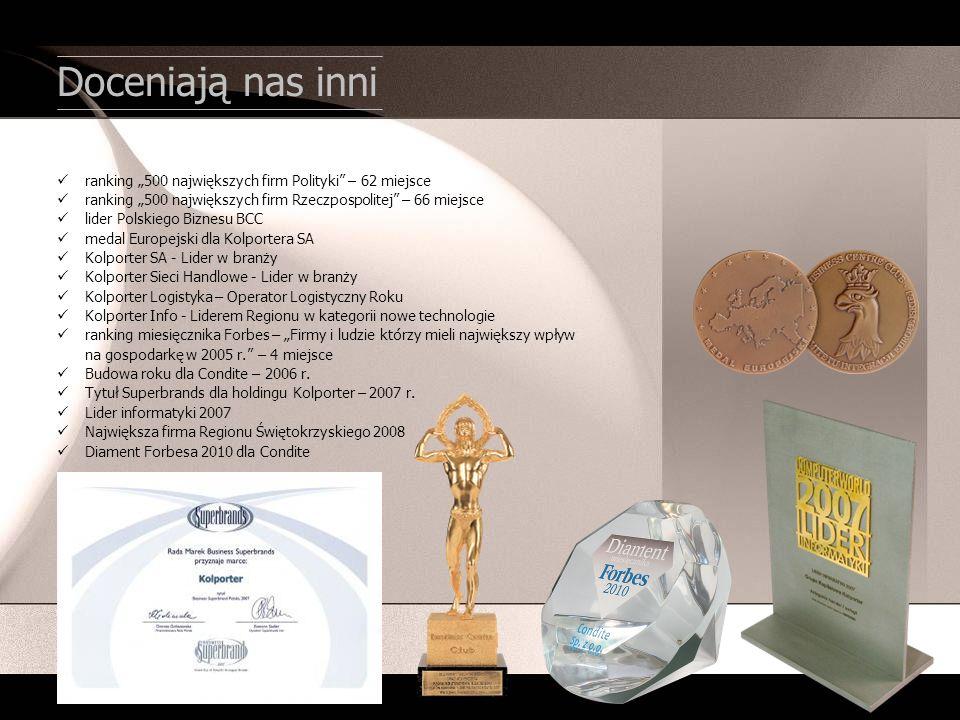 Doceniają nas inni ranking 500 największych firm Polityki – 62 miejsce ranking 500 największych firm Rzeczpospolitej – 66 miejsce lider Polskiego Bizn