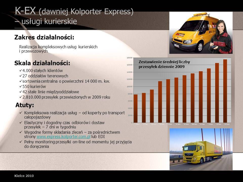 K-EX (dawniej Kolporter Express) – usługi kurierskie Kielce 2010 Zestawienie średniej liczby przesyłek dziennie 2009 Realizacja kompleksowych usług ku