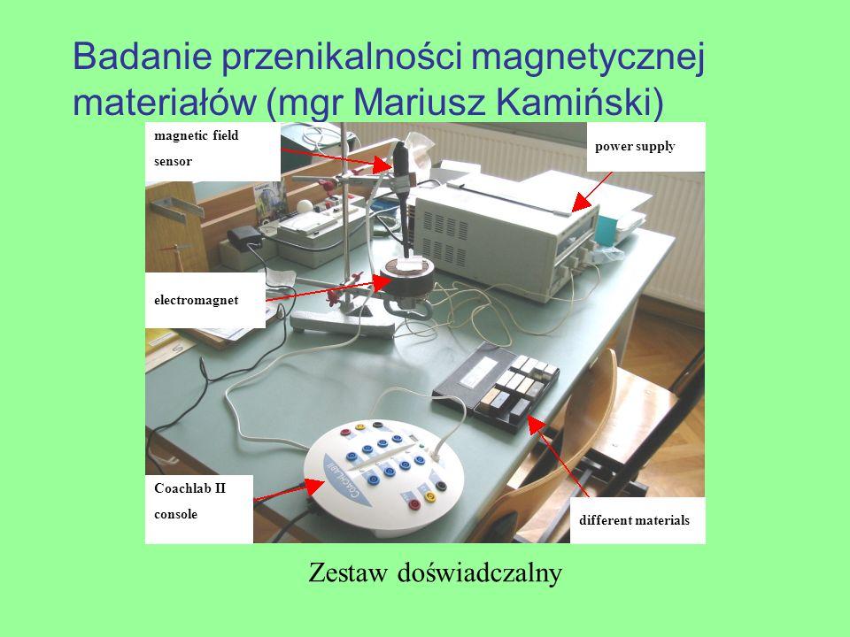 Badanie przenikalności magnetycznej materiałów (mgr Mariusz Kamiński) Zestaw doświadczalny different materials Coachlab II console power supply electr