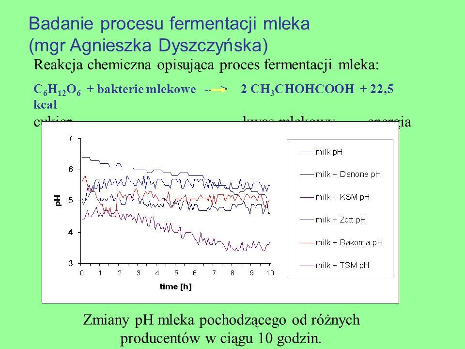 Badanie procesu fermentacji mleka (mgr Agnieszka Dyszczyńska) Zmiany pH mleka pochodzącego od różnych producentów w ciągu 10 godzin. Reakcja chemiczna