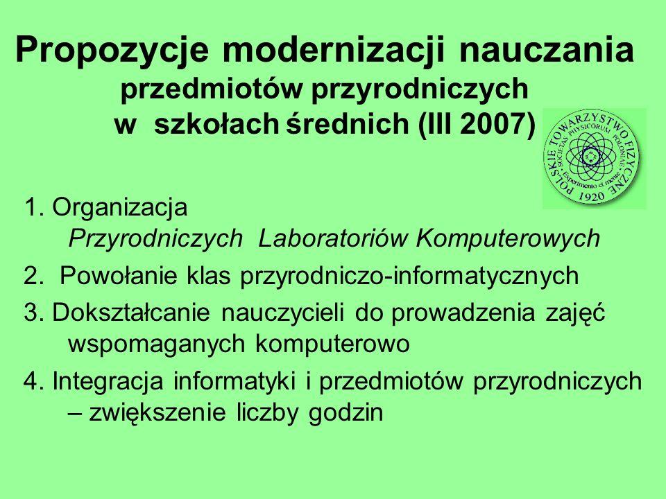 Propozycje modernizacji nauczania przedmiotów przyrodniczych w szkołach średnich (III 2007) 1. Organizacja Przyrodniczych Laboratoriów Komputerowych 2