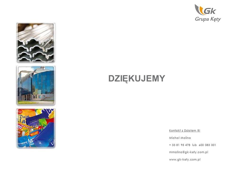 DZIĘKUJEMY Kontakt z Działem RI Michał Malina + 33 81 95 478 lub 600 083 001 mmalina@gk-kety.com.pl www.gk-kety.com.pl