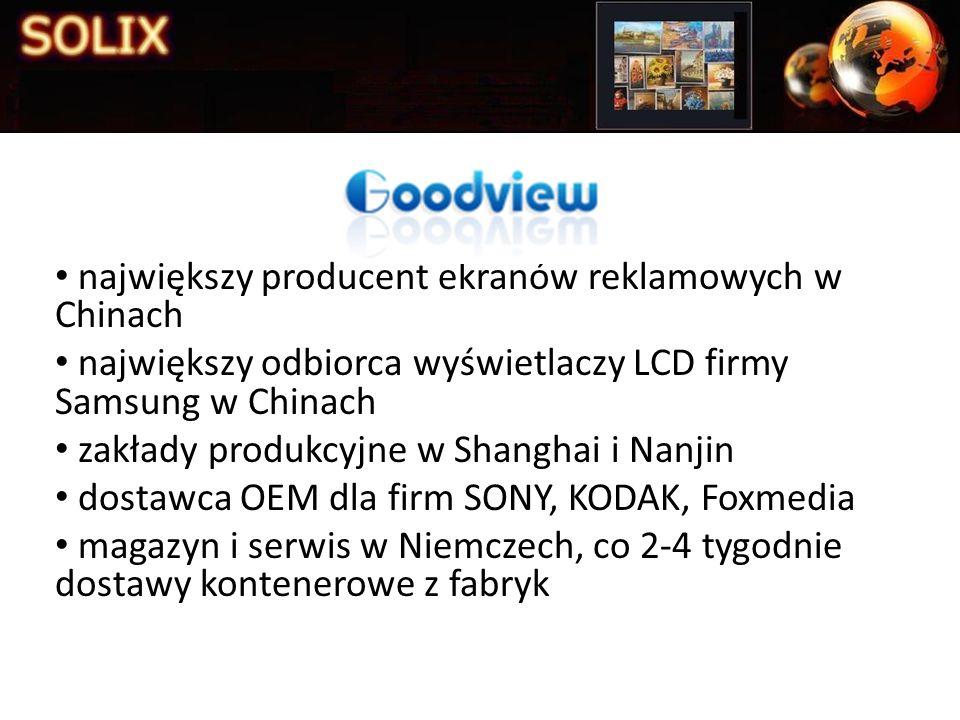 największy producent ekranów reklamowych w Chinach największy odbiorca wyświetlaczy LCD firmy Samsung w Chinach zakłady produkcyjne w Shanghai i Nanji