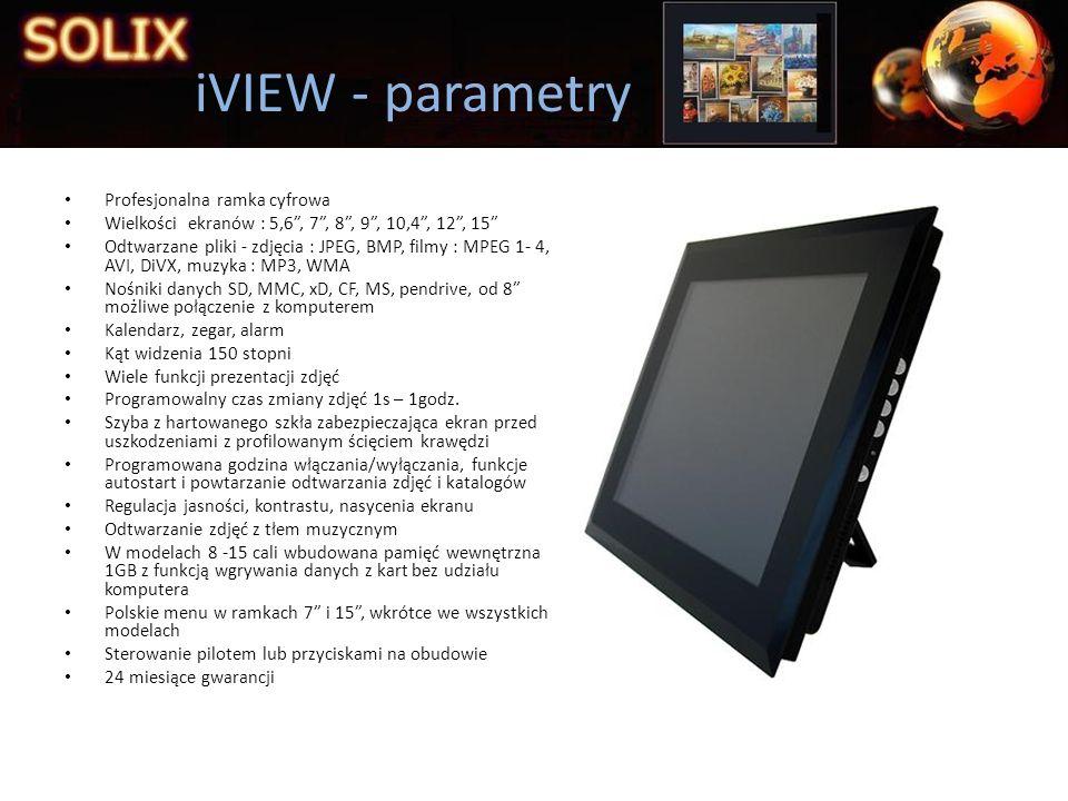 Profesjonalna ramka cyfrowa Wielkości ekranów : 5,6, 7, 8, 9, 10,4, 12, 15 Odtwarzane pliki - zdjęcia : JPEG, BMP, filmy : MPEG 1- 4, AVI, DiVX, muzyk