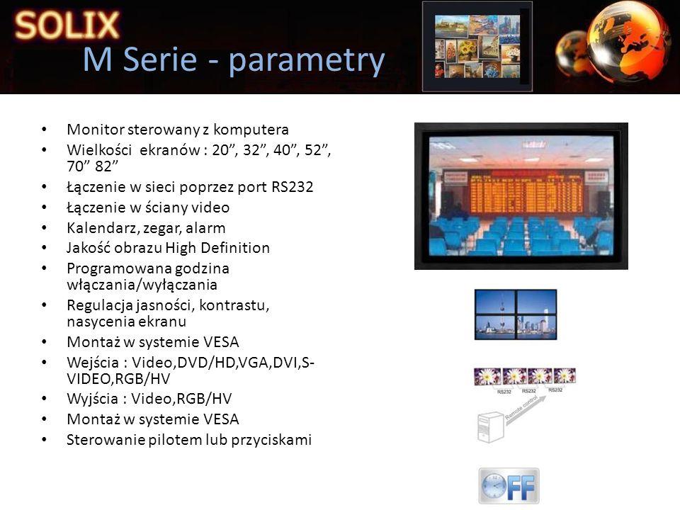Ściany video Wielkości ekranów : 40, 42, 46 Łączenie poprzez port RS232 Kalendarz, zegar, alarm Jakość obrazu High Definition Minimalna krawędź 10,85mm Wielokanałowość do 4 obrazów równocześnie Programowana godzina włączania/wyłączania Regulacja jasności, kontrastu, nasycenia ekranu Montaż w systemie VESA Wejścia : Video,DVD/HD,VGA,DVI,S- VIDEO,RGB/HV Wyjścia : Video,RGB/HV Montaż w systemie VESA Sterowanie z komputera lub przyciskami Tilling - parametry
