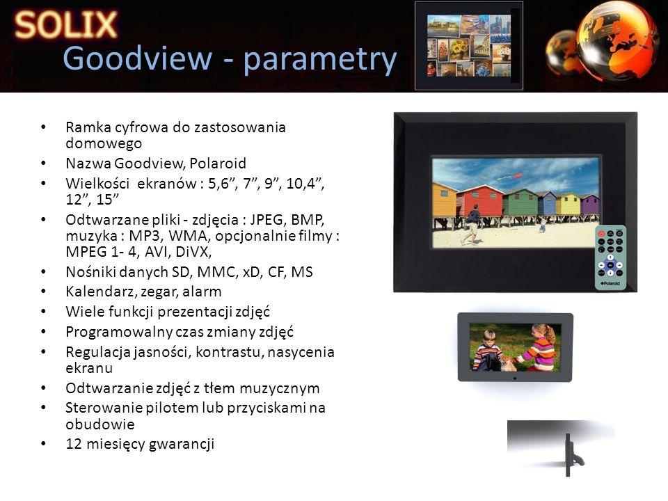 Prezentacja firmy SOLIX wyłączny przedstawiciel firmy Goodview w Polsce bezpośredni dostęp do składu fabrycznego w Niemczech dostawy ilości hurtowych do 7 dni serwis i gwarancja producenta na wszystkie produkty uproszczone procedury reklamacyjne dla stałych klientów, natychmiastowa wymiana, a następnie postępowanie reklamacyjne