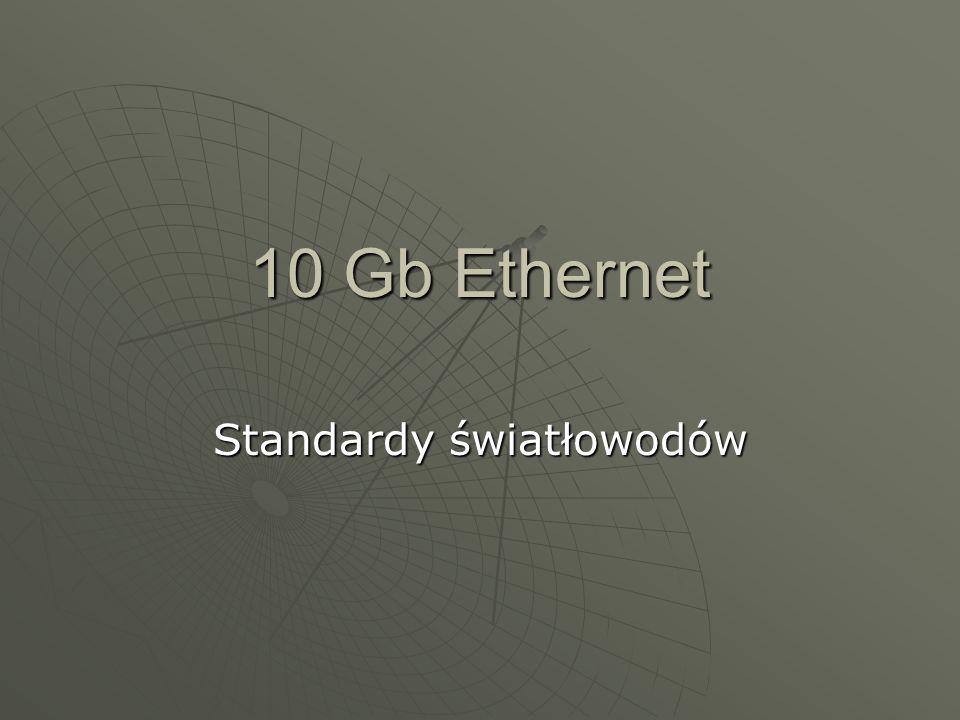 Trochę historii Rok 1999 - rozpoczęcie prac nad standardem 10 Gb Ethernetu Rok 1999 - rozpoczęcie prac nad standardem 10 Gb Ethernetu Lipiec 2002 – ratyfikowanie nowego standardu jako IEEE 802.3ae Lipiec 2002 – ratyfikowanie nowego standardu jako IEEE 802.3ae
