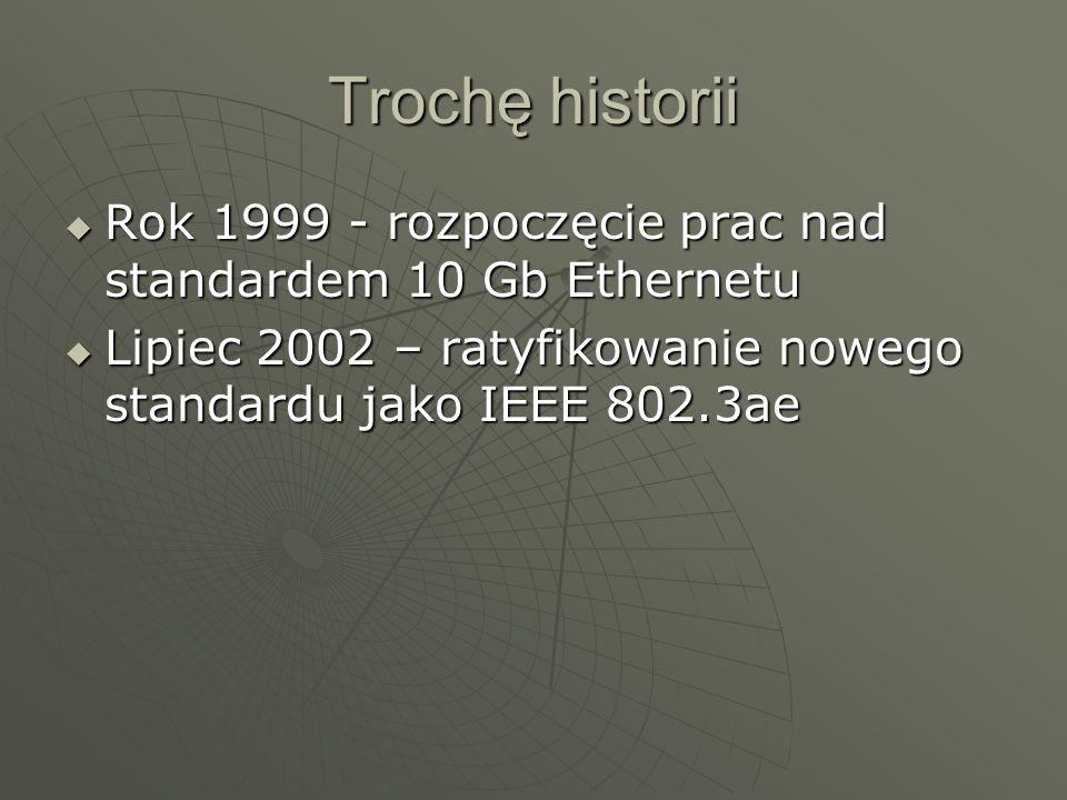 Trochę historii Rok 1999 - rozpoczęcie prac nad standardem 10 Gb Ethernetu Rok 1999 - rozpoczęcie prac nad standardem 10 Gb Ethernetu Lipiec 2002 – ra